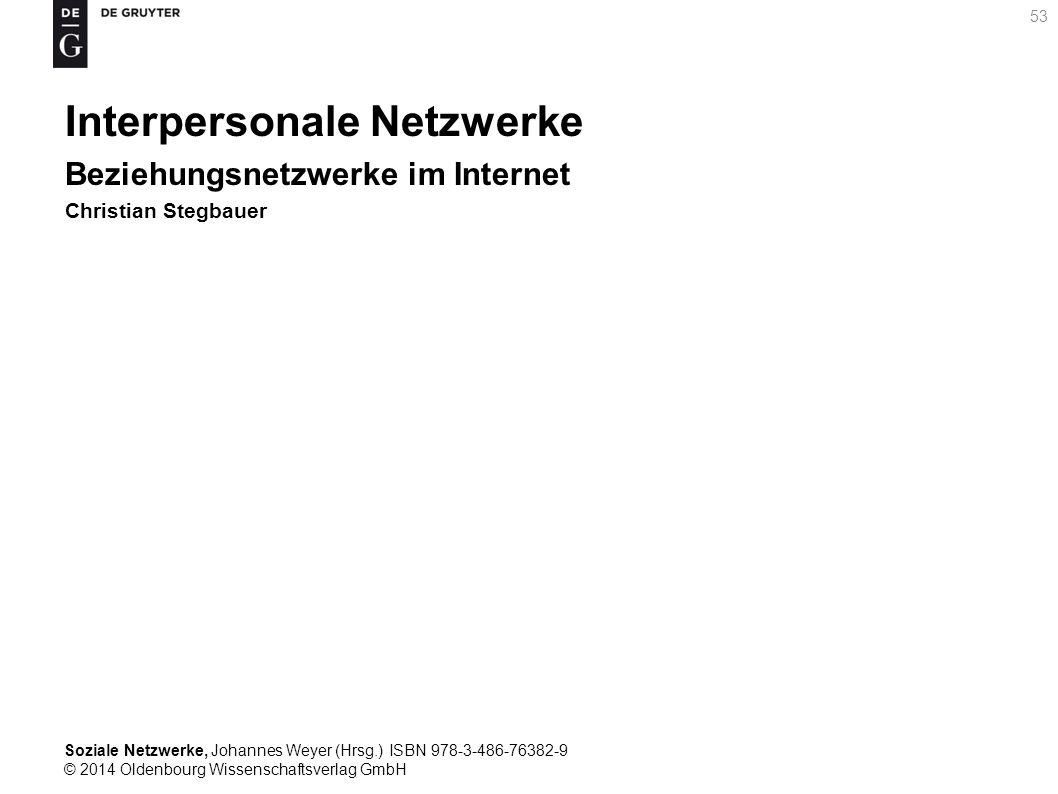 Soziale Netzwerke, Johannes Weyer (Hrsg.) ISBN 978-3-486-76382-9 © 2014 Oldenbourg Wissenschaftsverlag GmbH 53 Interpersonale Netzwerke Beziehungsnetz