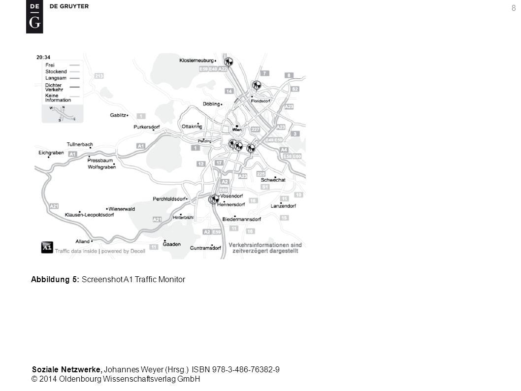 Soziale Netzwerke, Johannes Weyer (Hrsg.) ISBN 978-3-486-76382-9 © 2014 Oldenbourg Wissenschaftsverlag GmbH 8 Abbildung 5: Screenshot A1 Traffic Monit