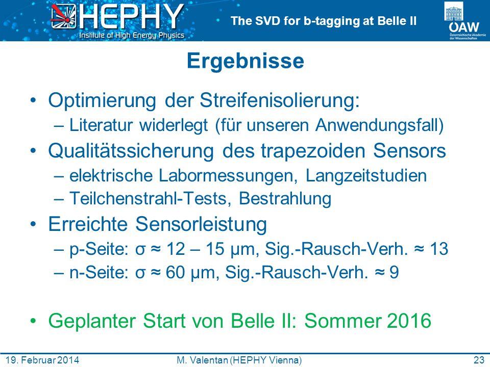 The SVD for b-tagging at Belle II Ergebnisse Optimierung der Streifenisolierung: –Literatur widerlegt (für unseren Anwendungsfall) Qualitätssicherung des trapezoiden Sensors –elektrische Labormessungen, Langzeitstudien –Teilchenstrahl-Tests, Bestrahlung Erreichte Sensorleistung –p-Seite: σ 12 – 15 µm, Sig.-Rausch-Verh.