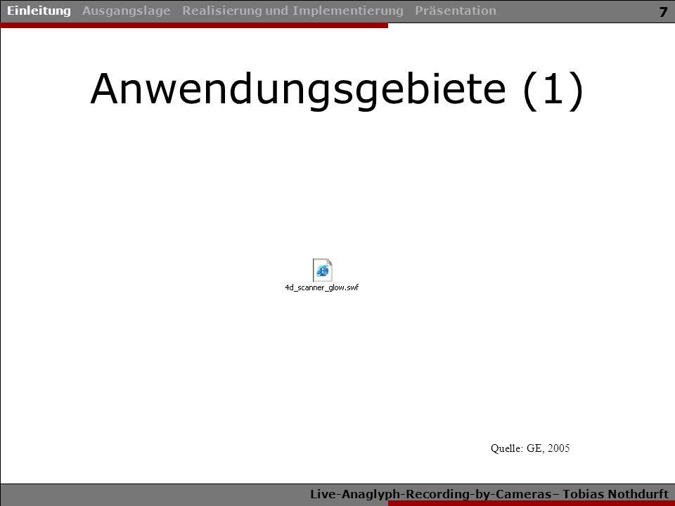 Live-Anaglyph-Recording-by-Cameras– Tobias Nothdurft 7 Anwendungsgebiete (1) Einleitung Ausgangslage Realisierung und Implementierung Präsentation Que