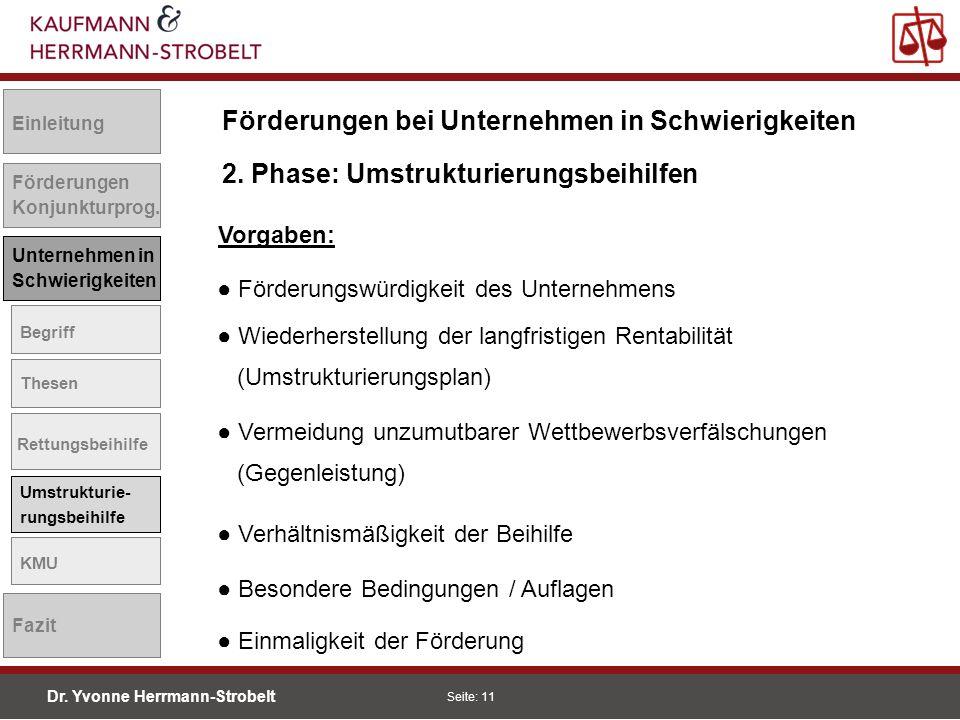 Dr. Yvonne Herrmann-Strobelt SS08 Seite: 11 Einleitung Förderungen Konjunkturprog. Unternehmen in Schwierigkeiten Begriff Thesen Rettungsbeihilfe Umst