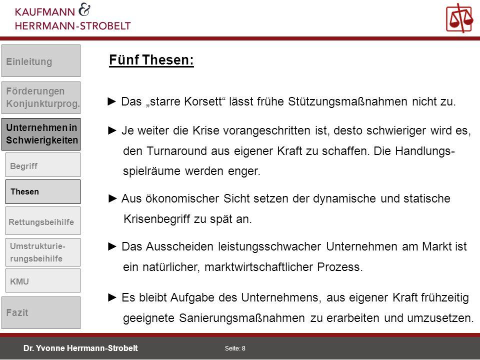 Dr.Yvonne Herrmann-Strobelt SS08 Seite: 9 Einleitung Förderungen Konjunkturprog.