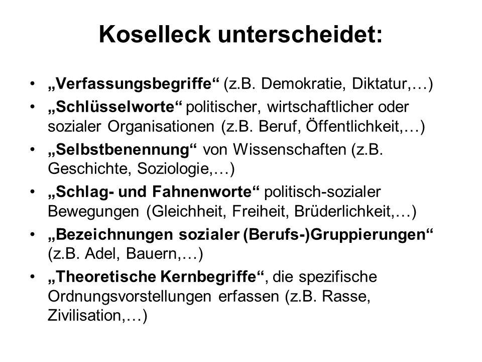 Koselleck unterscheidet: Verfassungsbegriffe (z.B.
