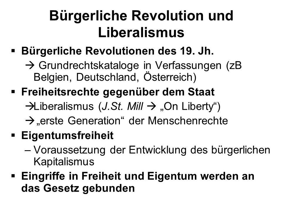 Bürgerliche Revolution und Liberalismus Bürgerliche Revolutionen des 19. Jh. Grundrechtskataloge in Verfassungen (zB Belgien, Deutschland, Österreich)