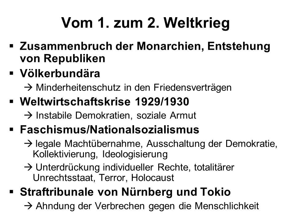 Vom 1. zum 2. Weltkrieg Zusammenbruch der Monarchien, Entstehung von Republiken Völkerbundära Minderheitenschutz in den Friedensverträgen Weltwirtscha