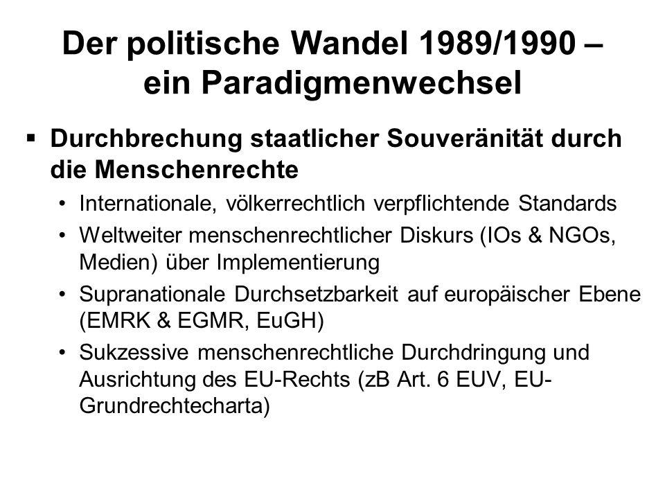 Der politische Wandel 1989/1990 – ein Paradigmenwechsel Durchbrechung staatlicher Souveränität durch die Menschenrechte Internationale, völkerrechtlic