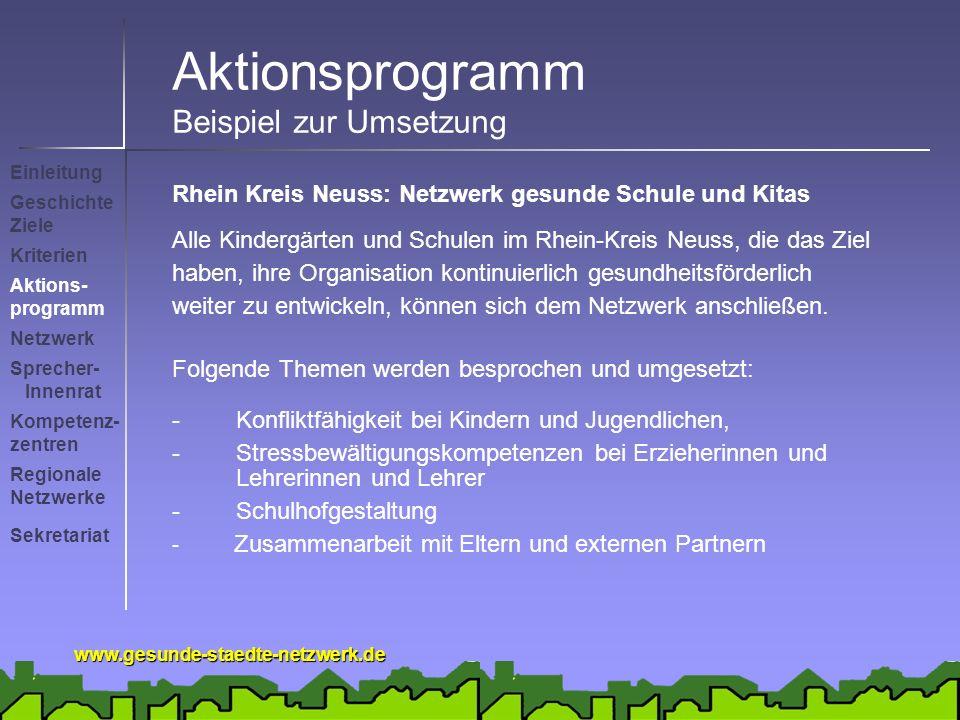 www.gesunde-staedte-netzwerk.de Aktionsprogramm Beispiel zur Umsetzung Rhein Kreis Neuss: Netzwerk gesunde Schule und Kitas Alle Kindergärten und Schulen im Rhein-Kreis Neuss, die das Ziel haben, ihre Organisation kontinuierlich gesundheitsförderlich weiter zu entwickeln, können sich dem Netzwerk anschließen.