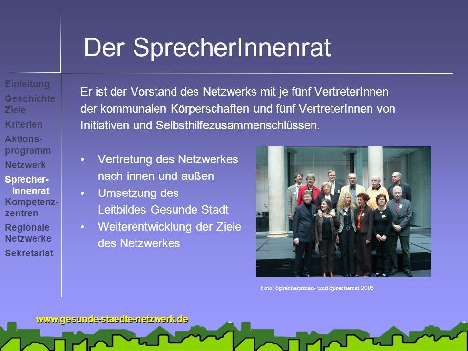www.gesunde-staedte-netzwerk.de Der SprecherInnenrat Einleitung Geschichte Ziele Kriterien Netzwerk Sprecher- Innenrat Sekretariat Kompetenz- zentren