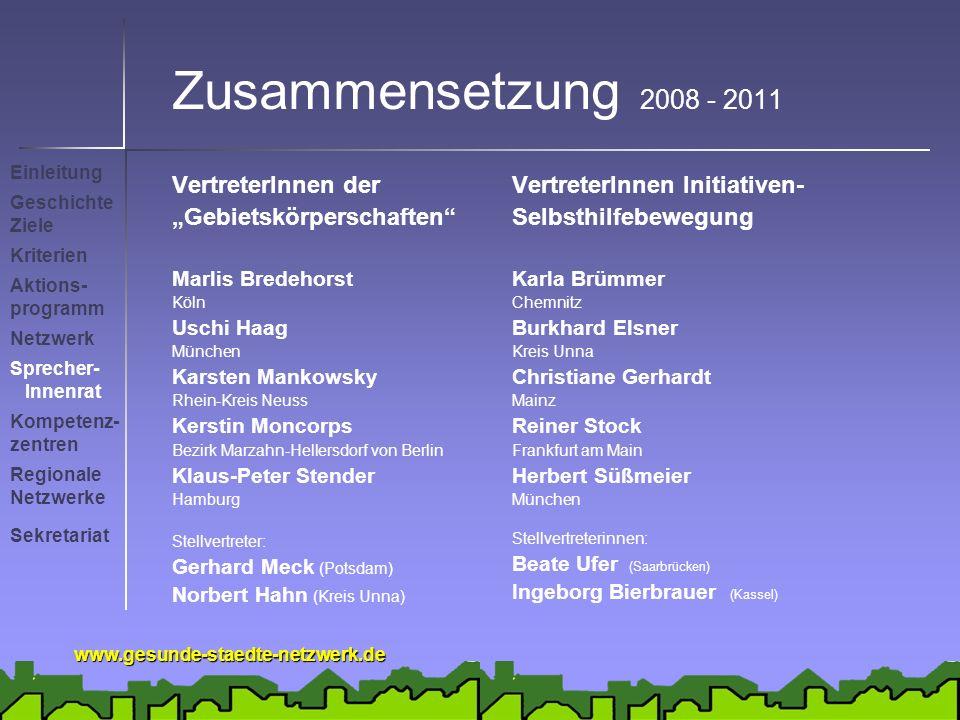 www.gesunde-staedte-netzwerk.de Zusammensetzung 2008 - 2011 VertreterInnen der Gebietskörperschaften Marlis Bredehorst Köln Uschi Haag München Karsten