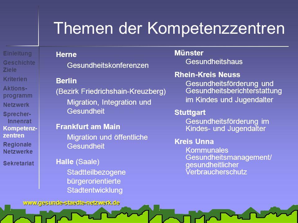 www.gesunde-staedte-netzwerk.de Themen der Kompetenzzentren Herne Gesundheitskonferenzen Berlin (Bezirk Friedrichshain-Kreuzberg) Migration, Integrati