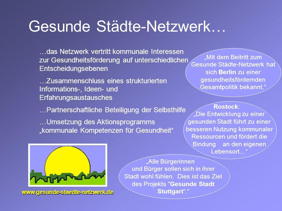 Gesunde Städte-Netzwerk… www.gesunde-staedte-netzwerk.de …das Netzwerk vertritt kommunale Interessen zur Gesundheitsförderung auf unterschiedlichen En
