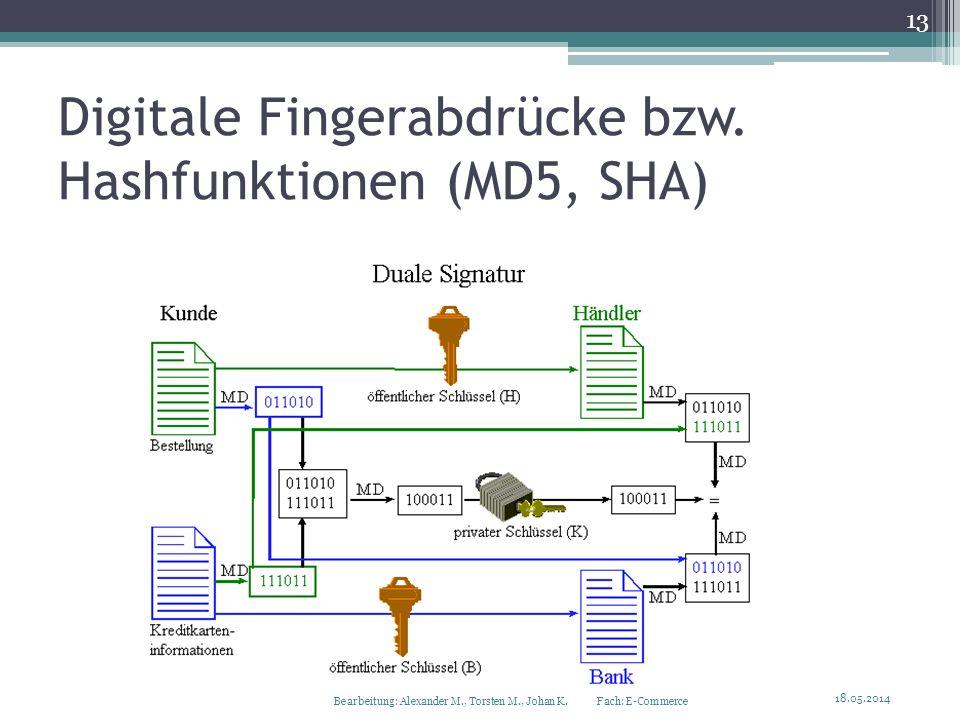 Digitale Fingerabdrücke bzw. Hashfunktionen (MD5, SHA) 18.05.2014 13 Bearbeitung: Alexander M., Torsten M., Johan K. Fach: E-Commerce