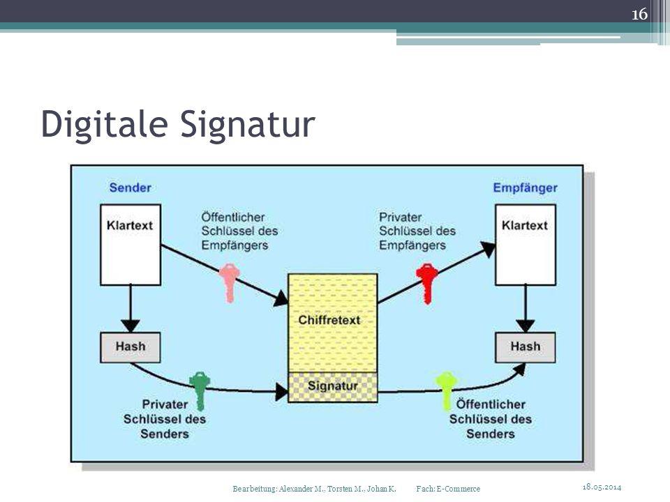 Digitale Signatur 18.05.2014 16 Bearbeitung: Alexander M., Torsten M., Johan K. Fach: E-Commerce