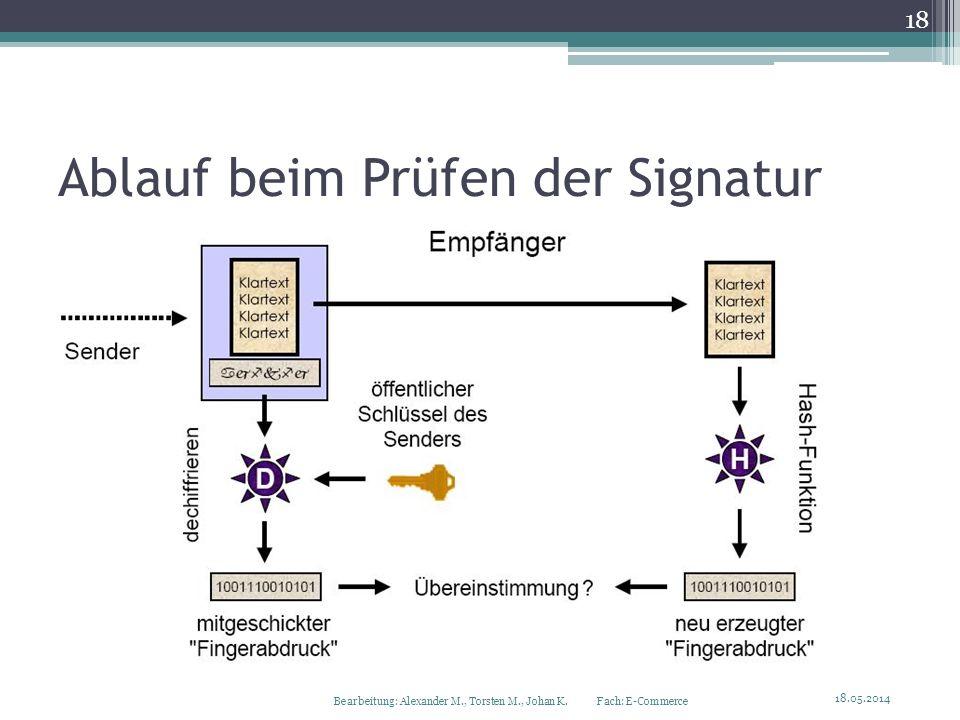 Ablauf beim Prüfen der Signatur Bearbeitung: Alexander M., Torsten M., Johan K. Fach: E-Commerce 18.05.2014 18