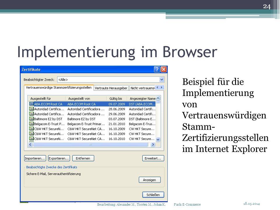 Implementierung im Browser Beispiel für die Implementierung von Vertrauenswürdigen Stamm- Zertifizierungsstellen im Internet Explorer 18.05.2014 24 Be