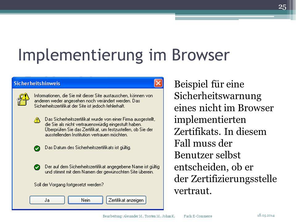 Implementierung im Browser Beispiel für eine Sicherheitswarnung eines nicht im Browser implementierten Zertifikats. In diesem Fall muss der Benutzer s