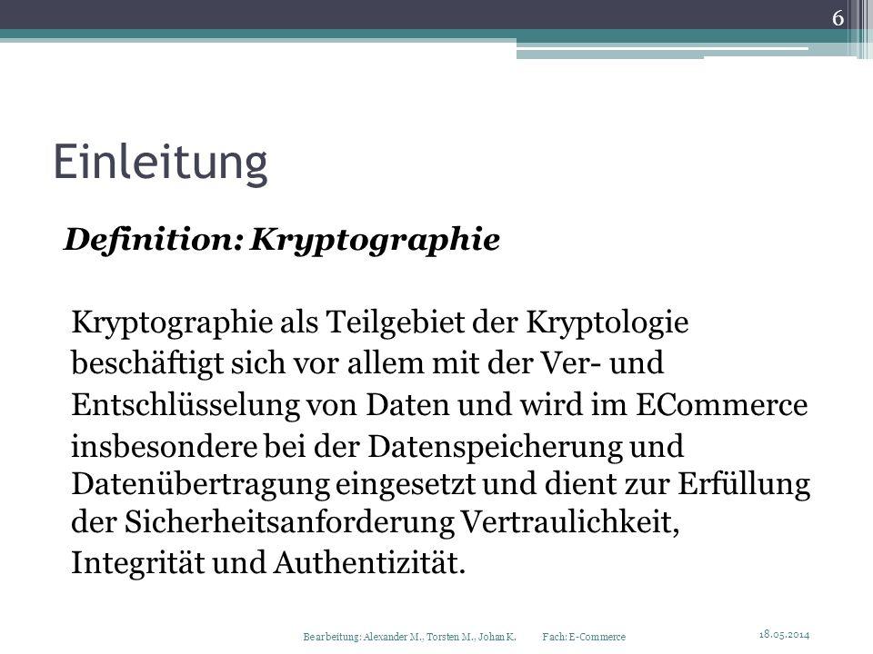 Einleitung Definition: Kryptographie Kryptographie als Teilgebiet der Kryptologie beschäftigt sich vor allem mit der Ver- und Entschlüsselung von Date