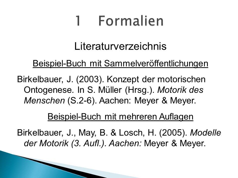 Literaturverzeichnis Beispiel-Buch mit Sammelveröffentlichungen Birkelbauer, J.