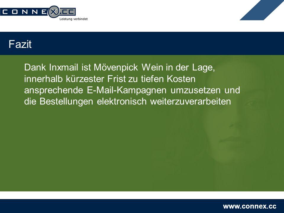 www.connex.cc Fazit Dank Inxmail ist Mövenpick Wein in der Lage, innerhalb kürzester Frist zu tiefen Kosten ansprechende E-Mail-Kampagnen umzusetzen u