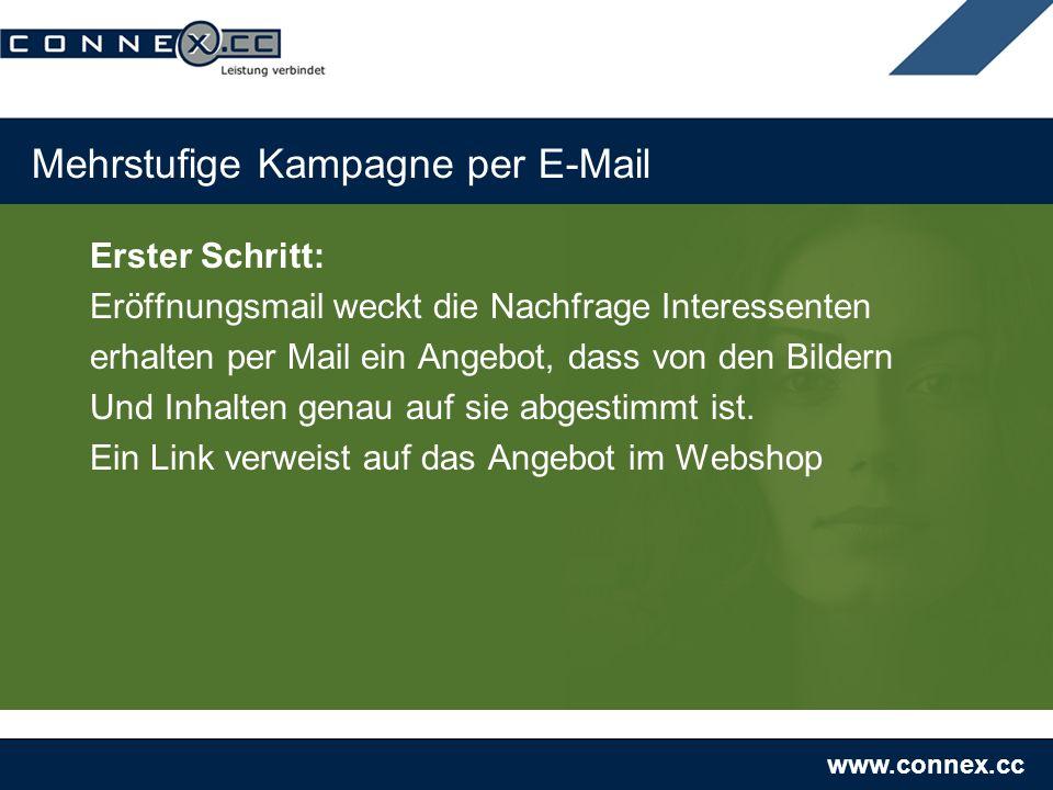 www.connex.cc Mehrstufige Kampagne per E-Mail Erster Schritt: Eröffnungsmail weckt die Nachfrage Interessenten erhalten per Mail ein Angebot, dass von den Bildern Und Inhalten genau auf sie abgestimmt ist.