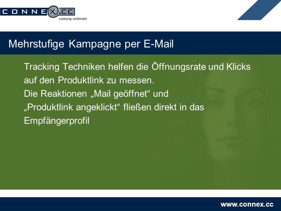 www.connex.cc Mehrstufige Kampagne per E-Mail Tracking Techniken helfen die Öffnungsrate und Klicks auf den Produktlink zu messen.