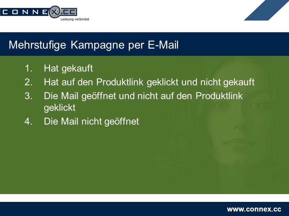 www.connex.cc Mehrstufige Kampagne per E-Mail 1.Hat gekauft 2.Hat auf den Produktlink geklickt und nicht gekauft 3.Die Mail geöffnet und nicht auf den Produktlink geklickt 4.Die Mail nicht geöffnet