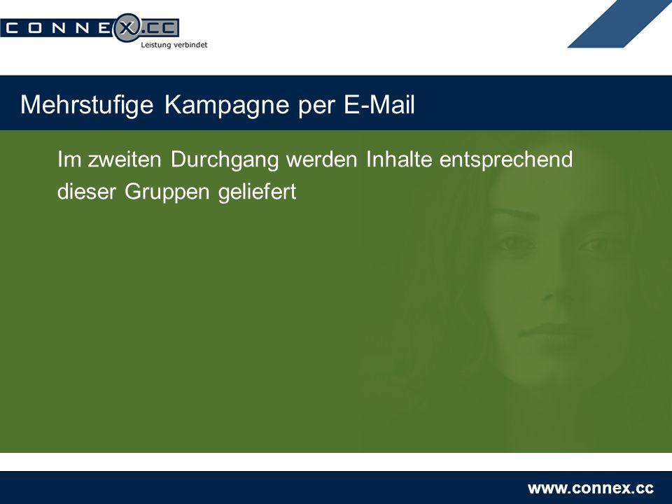 www.connex.cc Mehrstufige Kampagne per E-Mail Im zweiten Durchgang werden Inhalte entsprechend dieser Gruppen geliefert