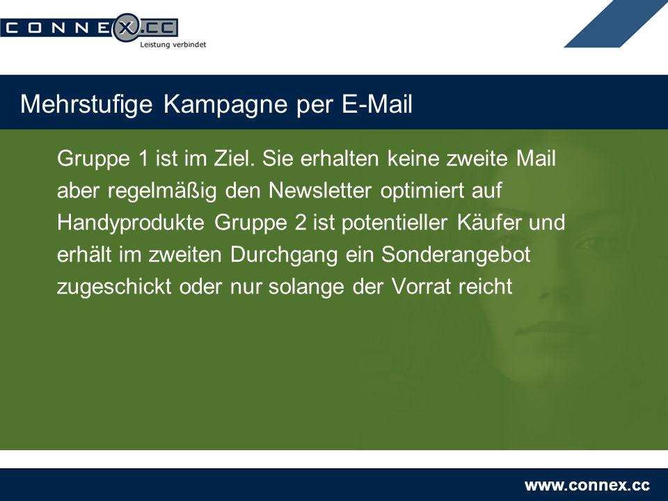 www.connex.cc Mehrstufige Kampagne per E-Mail Gruppe 1 ist im Ziel. Sie erhalten keine zweite Mail aber regelmäßig den Newsletter optimiert auf Handyp