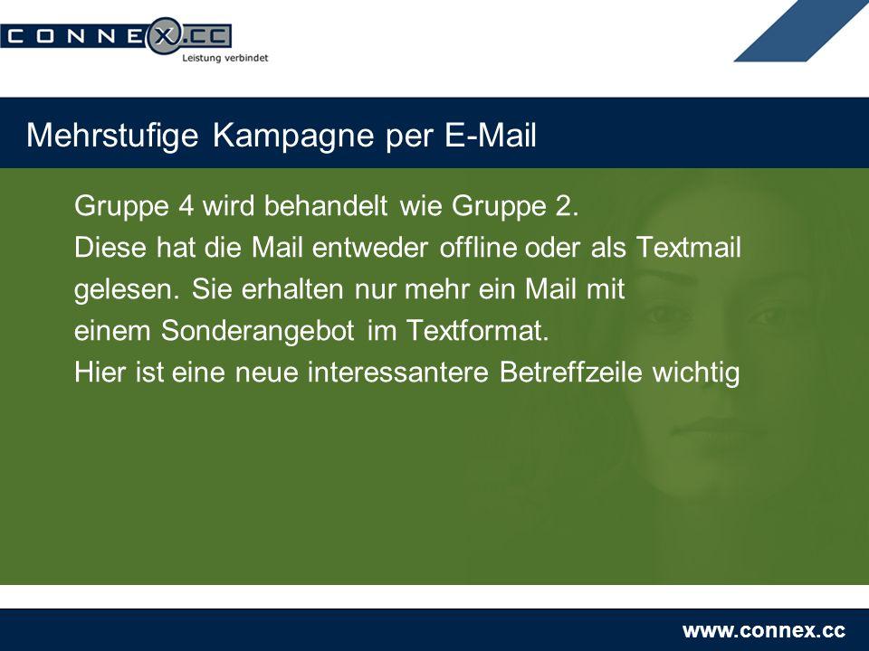 www.connex.cc Mehrstufige Kampagne per E-Mail Gruppe 4 wird behandelt wie Gruppe 2. Diese hat die Mail entweder offline oder als Textmail gelesen. Sie