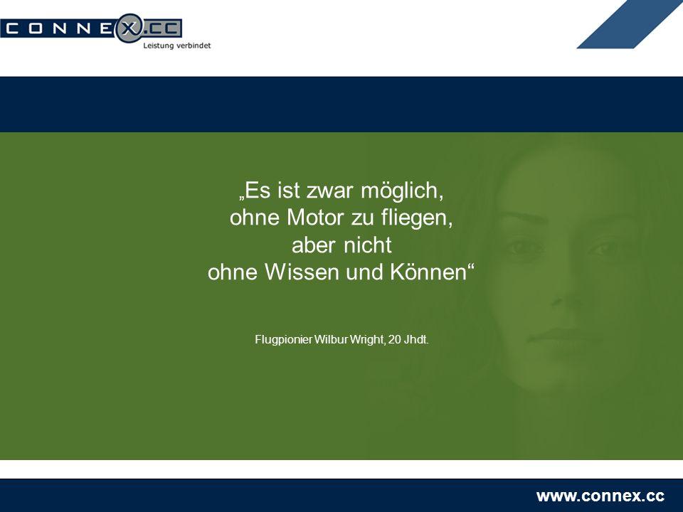 www.connex.cc Es ist zwar möglich, ohne Motor zu fliegen, aber nicht ohne Wissen und Können Flugpionier Wilbur Wright, 20 Jhdt.