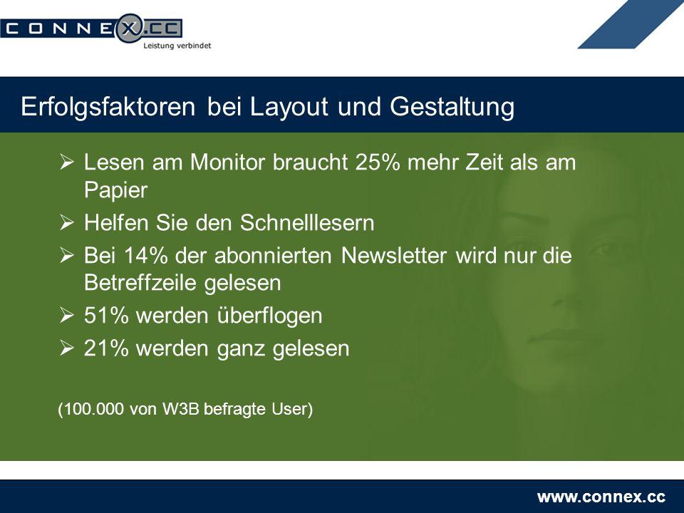 www.connex.cc Erfolgsfaktoren bei Layout und Gestaltung Lesen am Monitor braucht 25% mehr Zeit als am Papier Helfen Sie den Schnelllesern Bei 14% der abonnierten Newsletter wird nur die Betreffzeile gelesen 51% werden überflogen 21% werden ganz gelesen (100.000 von W3B befragte User)