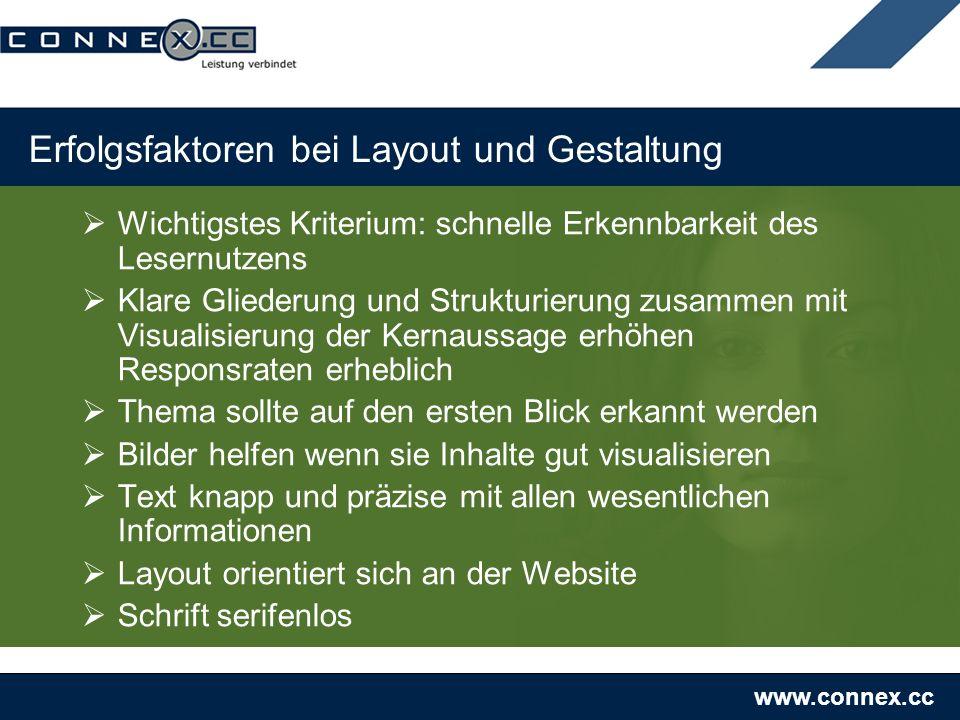 www.connex.cc Erfolgsfaktoren bei Layout und Gestaltung Wichtigstes Kriterium: schnelle Erkennbarkeit des Lesernutzens Klare Gliederung und Strukturie