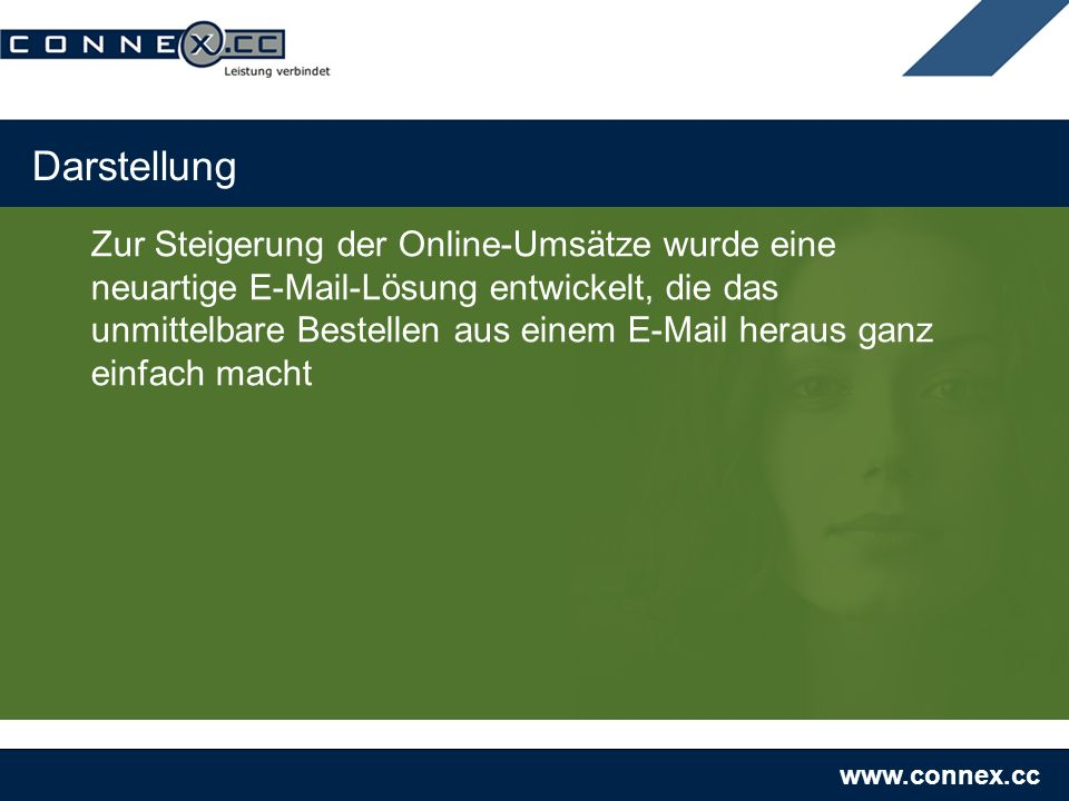 www.connex.cc Darstellung Zur Steigerung der Online-Umsätze wurde eine neuartige E-Mail-Lösung entwickelt, die das unmittelbare Bestellen aus einem E-