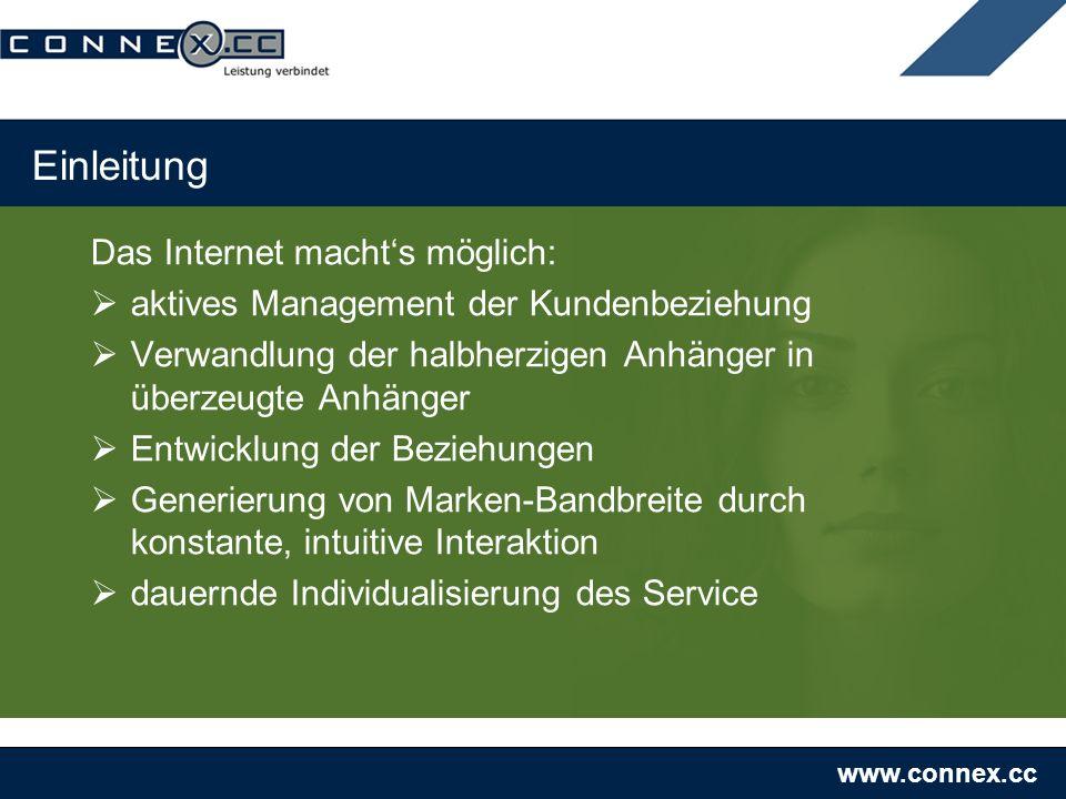 www.connex.cc Einleitung Das Internet machts möglich: aktives Management der Kundenbeziehung Verwandlung der halbherzigen Anhänger in überzeugte Anhän