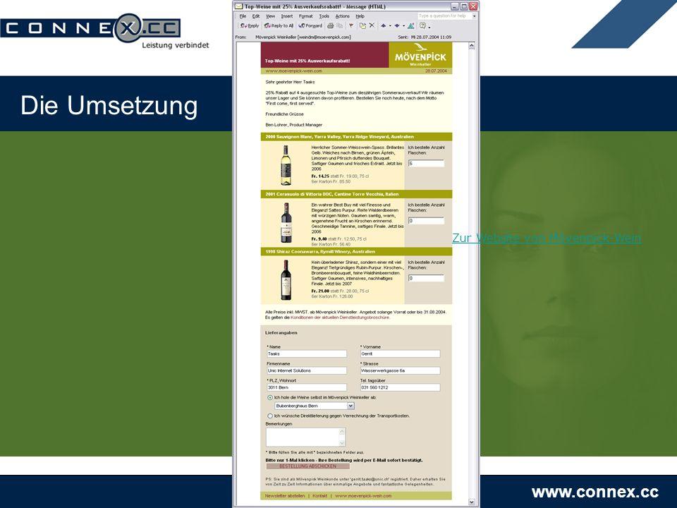 www.connex.cc Die Umsetzung Zur Website von Mövenpick-Wein