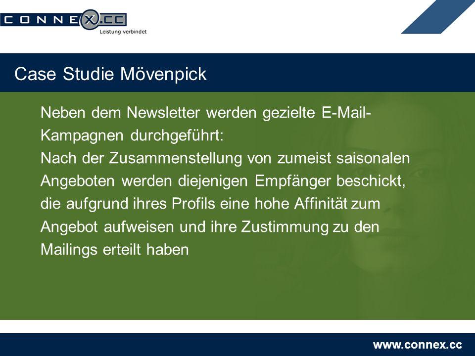 www.connex.cc Case Studie Mövenpick Neben dem Newsletter werden gezielte E-Mail- Kampagnen durchgeführt: Nach der Zusammenstellung von zumeist saisona