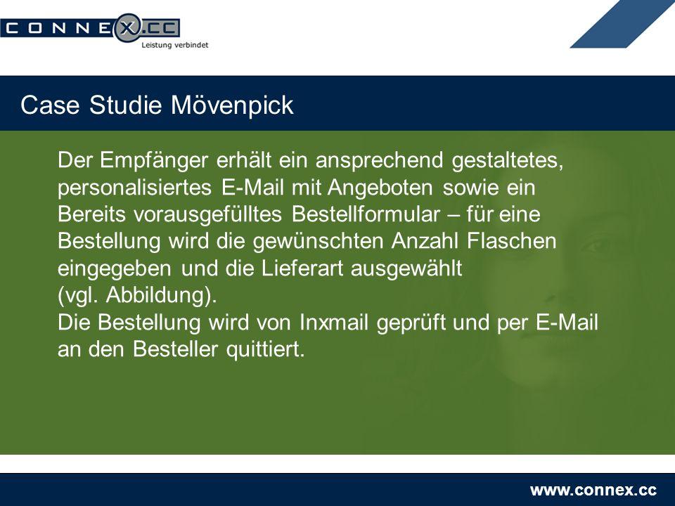 www.connex.cc Case Studie Mövenpick Der Empfänger erhält ein ansprechend gestaltetes, personalisiertes E-Mail mit Angeboten sowie ein Bereits vorausge