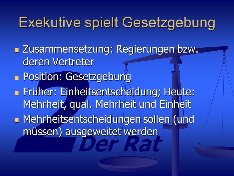 2 Der Rat Stimmengewichtung Wie im Bundesrat: Mehr Leute = mehr Stimmen Wie im Bundesrat: Mehr Leute = mehr Stimmen Keine Veränderung der Stimmengewichtung seit 1973 (EG der 9), jedoch sechs neue, kleine Mitgliedländer Keine Veränderung der Stimmengewichtung seit 1973 (EG der 9), jedoch sechs neue, kleine Mitgliedländer Folge: 71% der Ratsstimmen können 50% der EU- Bürger repräsentieren, benachteiligt sind große Staaten Folge: 71% der Ratsstimmen können 50% der EU- Bürger repräsentieren, benachteiligt sind große Staaten Nizza (gültig ab 01.01.2005): Nizza (gültig ab 01.01.2005): Alle bekommen mehr Stimmen, jedoch manche mehr als andere Alle bekommen mehr Stimmen, jedoch manche mehr als andere Beschlüsse benötigen mindestens 2/3-Mehrheit Beschlüsse benötigen mindestens 2/3-Mehrheit Jede Mehrheit muss mindestens 62% der EU-Bürger repräsentieren Jede Mehrheit muss mindestens 62% der EU-Bürger repräsentieren