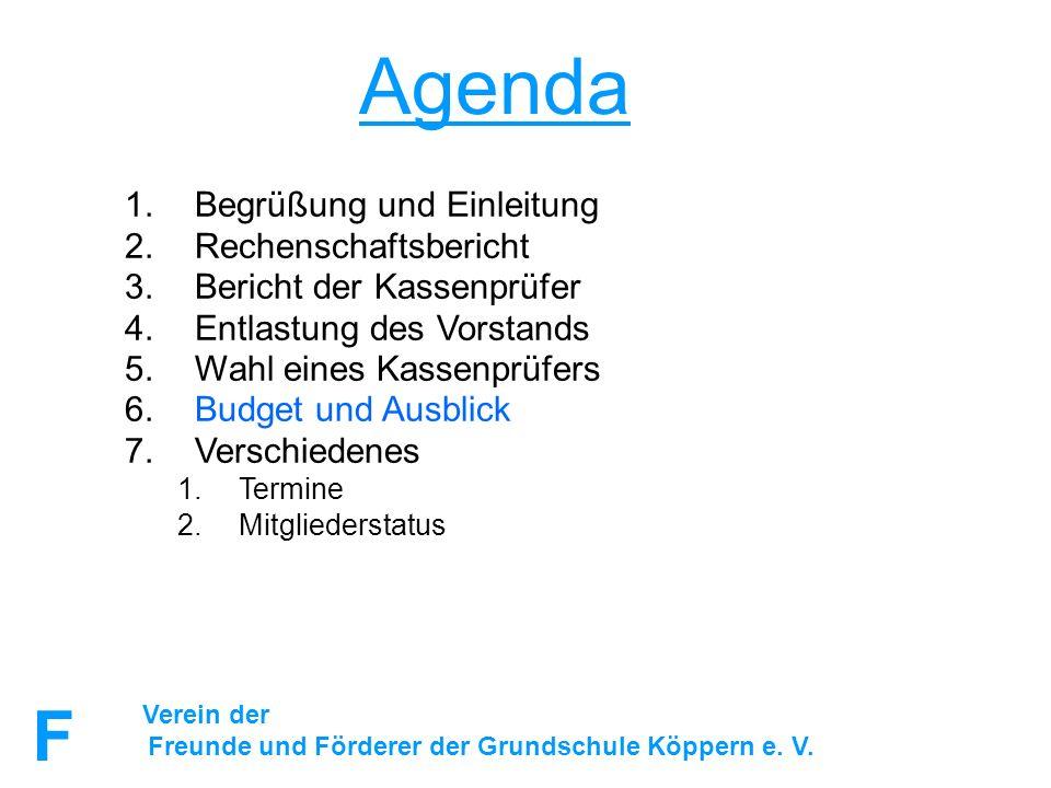 FuFFuF Verein der Freunde und Förderer der Grundschule Köppern e. V. Agenda 1. Begrüßung und Einleitung 2. Rechenschaftsbericht 3. Bericht der Kassenp