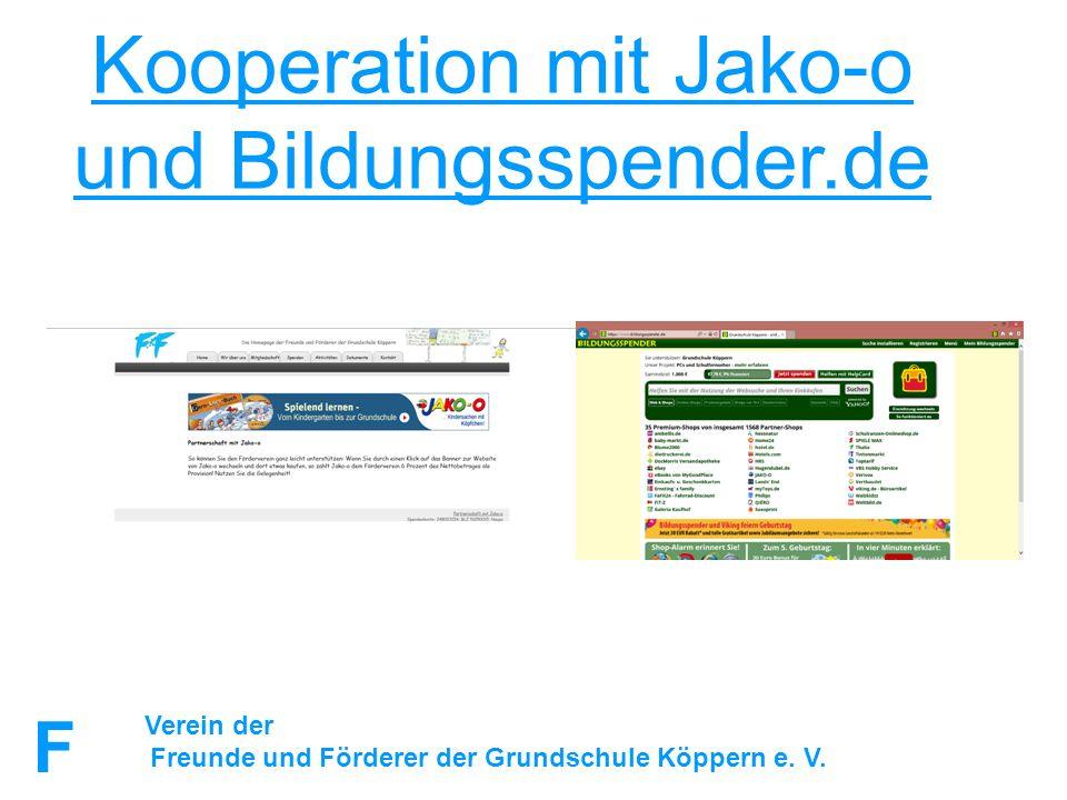 FuFFuF Verein der Freunde und Förderer der Grundschule Köppern e. V. Kooperation mit Jako-o und Bildungsspender.de