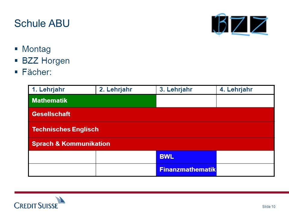 Slide 10 Montag BZZ Horgen Fächer: 1. Lehrjahr2. Lehrjahr3. Lehrjahr4. Lehrjahr Mathematik Gesellschaft Technisches Englisch Sprach & Kommunikation BW