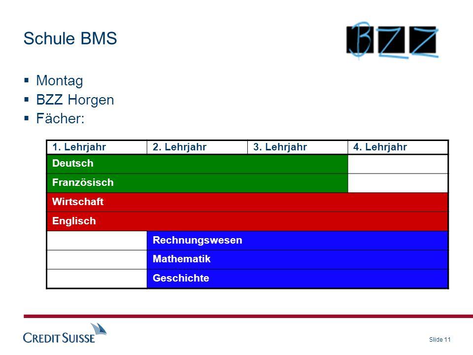 Slide 11 Schule BMS Montag BZZ Horgen Fächer: 1. Lehrjahr2. Lehrjahr3. Lehrjahr4. Lehrjahr Deutsch Französisch Wirtschaft Englisch Rechnungswesen Math