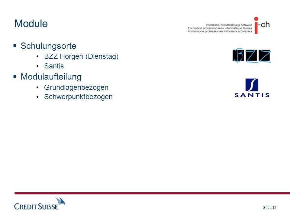 Slide 12 Schulungsorte BZZ Horgen (Dienstag) Santis Modulaufteilung Grundlagenbezogen Schwerpunktbezogen Module