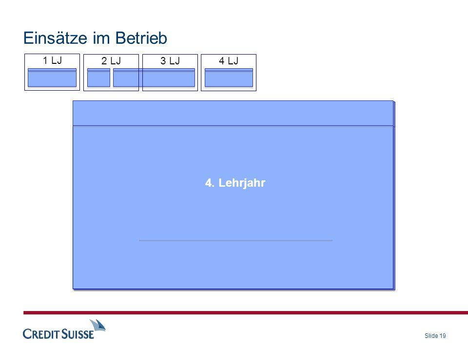 Slide 19 1. Lehrjahr Was gemacht? Credit Suisse kennen gelernt, Meetings organisiert, interne Webseite erstellt, IT Expo Flyer gestaltet 1. Lehrjahr W