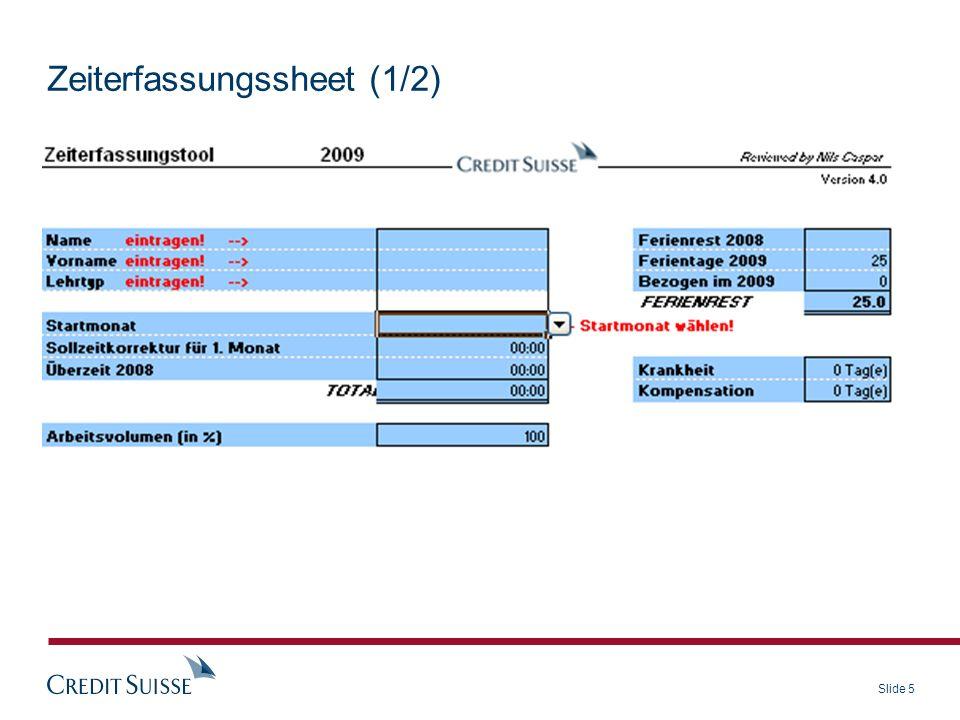 Slide 5 Zeiterfassungssheet (1/2)