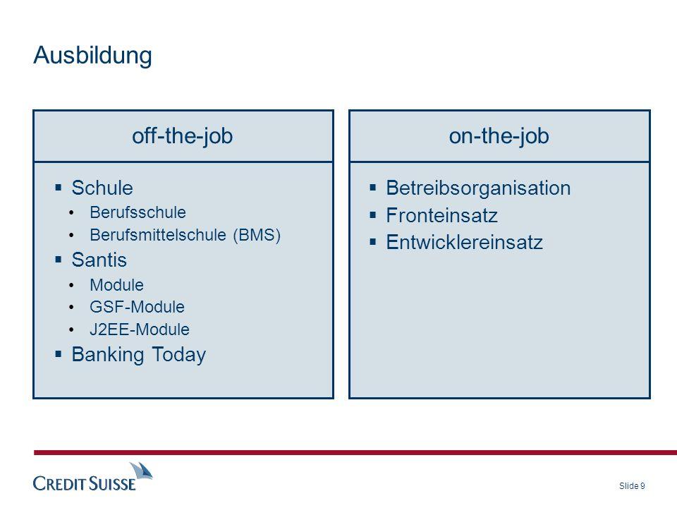 Slide 9 Ausbildung off-the-jobon-the-job Betreibsorganisation Fronteinsatz Entwicklereinsatz Schule Berufsschule Berufsmittelschule (BMS) Santis Modul
