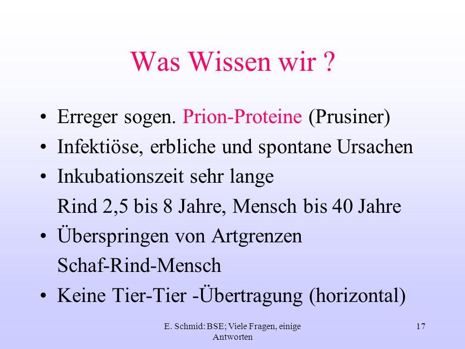 E. Schmid: BSE; Viele Fragen, einige Antworten 17 Was Wissen wir ? Erreger sogen. Prion-Proteine (Prusiner) Infektiöse, erbliche und spontane Ursachen