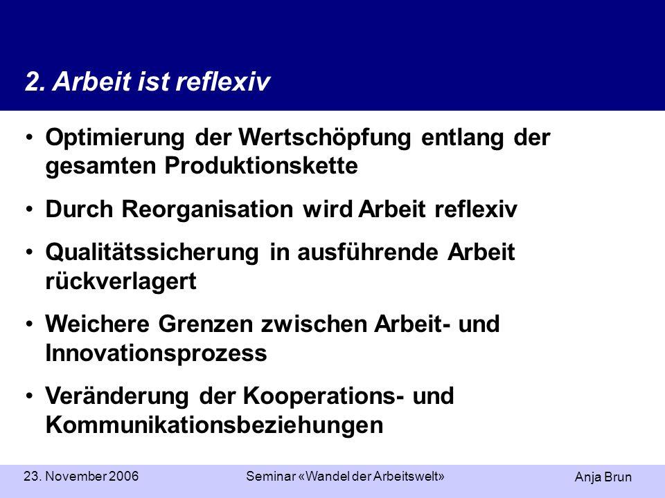 Anja Brun 23. November 2006Seminar «Wandel der Arbeitswelt» Optimierung der Wertschöpfung entlang der gesamten Produktionskette Durch Reorganisation w