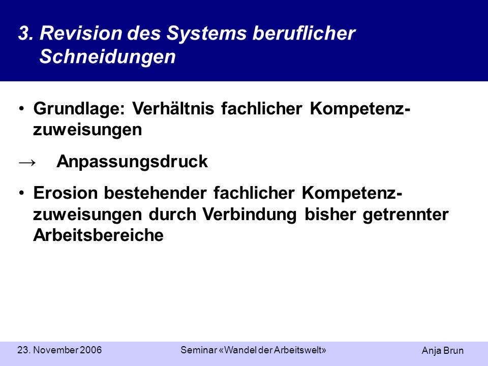 Anja Brun 23. November 2006Seminar «Wandel der Arbeitswelt» 3. Revision des Systems beruflicher Schneidungen Grundlage: Verhältnis fachlicher Kompeten