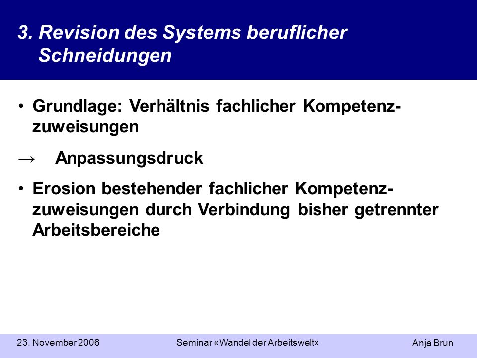 Anja Brun 23. November 2006Seminar «Wandel der Arbeitswelt» 3.